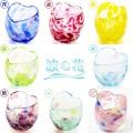 琉球ガラスの引き出物・結婚祝いに大人気!波の花ハートグラス
