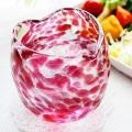 琉球ガラスの引き出物・結婚祝いに大人気!波の花ハートグラス/金赤・ピンク