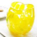 琉球ガラス「波の花ハートグラス/黄色」