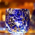 【送料無料】高級琉球ガラス・プレミアムアースぐい呑み2個&徳利1個金箔入りセット