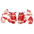 沖縄土産 シーサー 置物 玄関 ペア ガラスシーサー ガラスシーサー 赤