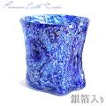 琉球ガラス/プレミアムアース残波ロックグラス銀箔入り