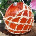 琉球ガラス/浮き玉泡入り花かざり・オレンジ