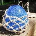 琉球ガラス/浮き玉泡入り花かざり