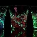 ホタル石入り琉球ガラス/ホタル残波ロックグラス・金赤/匠