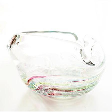 琉球ガラス/渦潮モール三角灰皿・レインボー