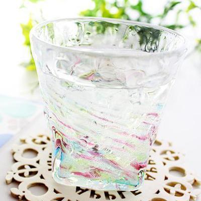 ホタル石入り琉球ガラス/蛍残波ロックグラス・レインボー/匠
