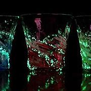 ホタル石入り琉球ガラス/蛍残波ロックグラス・金赤/匠