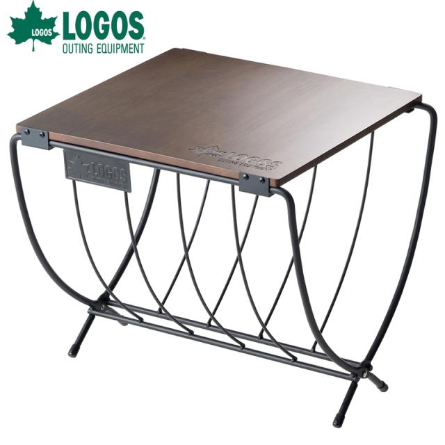 ロゴス logos LOGOS ワイド薪ラックウッドテーブル 81064183 木製天板 コンパクト収納 折りたたみ式 湿気対策