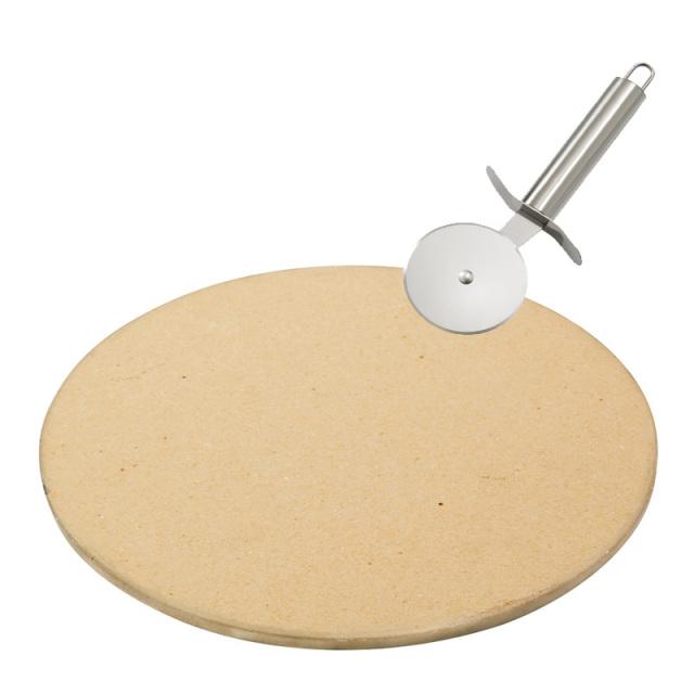 ピザもパリッと焼ける ピザストーン 直径約33cm カッター付き