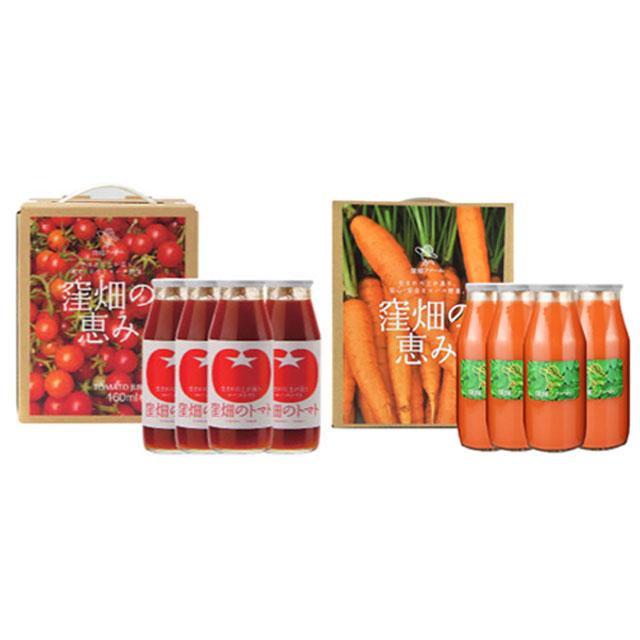 【オリジナルギフト】トマトジュースと人参ジュースの健康セット★贈物や旬のギフトなどにもご利用ください★