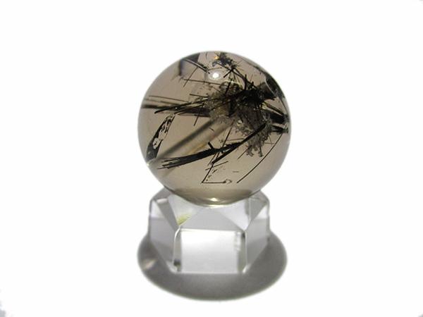 高品質 ブラックトルマリンインクォーツビーズ 水晶 約20mm 天然石販売/鬮石