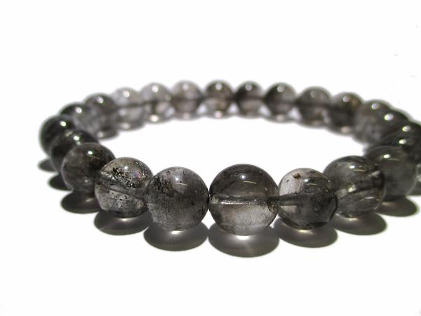 高品質 エレスチャルクォーツ(グラファイト イン クォーツ) ブレスレット 水晶 販売/鬮石