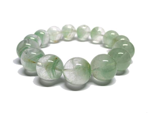 グリーンファントムクォーツ 水晶 ブレスレット 約14~15mm 天然石専門店 販売/鬮石