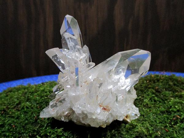 アメリカ、アーカンソー州産の希少なアデュラリアインクォーツ(氷長石入り水晶)原石クラスター