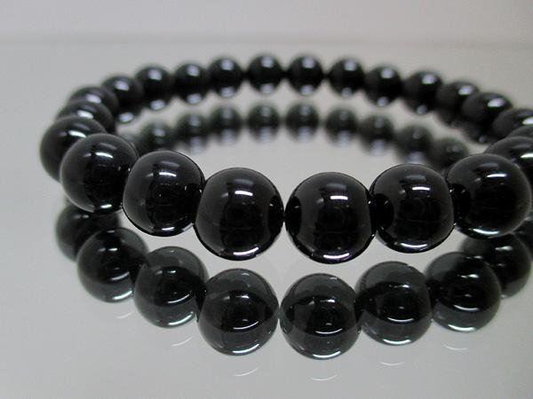 鑑別書付の天然黒水晶(モーリオン)ブレスレット
