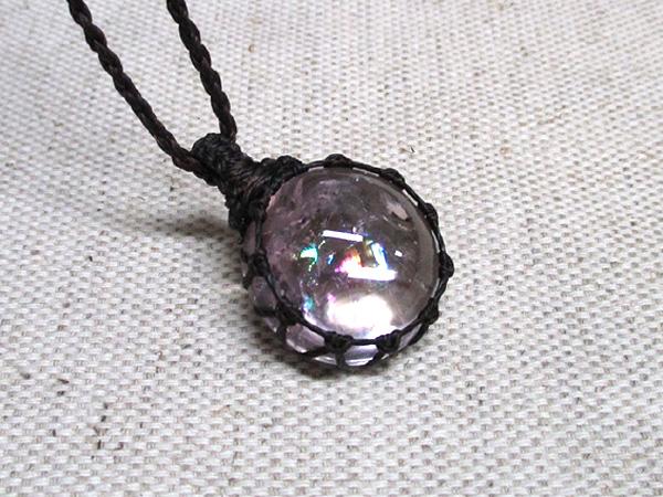レインボークォーツ水晶マクラメオリジナルネックレス