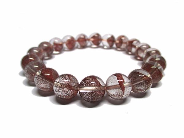レッドファントムクォーツ 水晶 ブレスレット 約10mm 天然石専門店 販売/鬮石