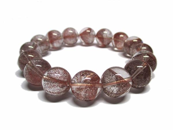 レッドファントムクォーツ 水晶 ブレスレット 約13~14mm 天然石専門店 販売/鬮石