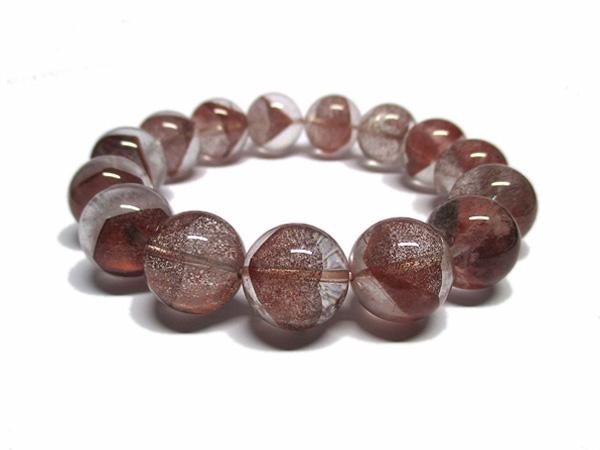 レッドファントムクォーツ 水晶 ブレスレット 約15~16mm 天然石専門店 販売/鬮石