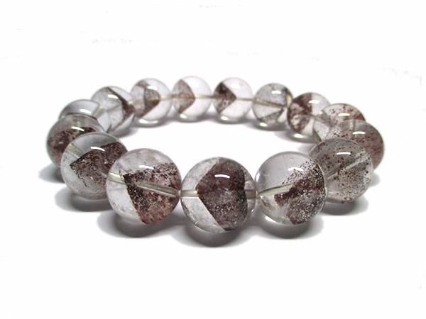 レッドファントムクォーツ 水晶 ブレスレット 約15mm 天然石専門店 販売/鬮石