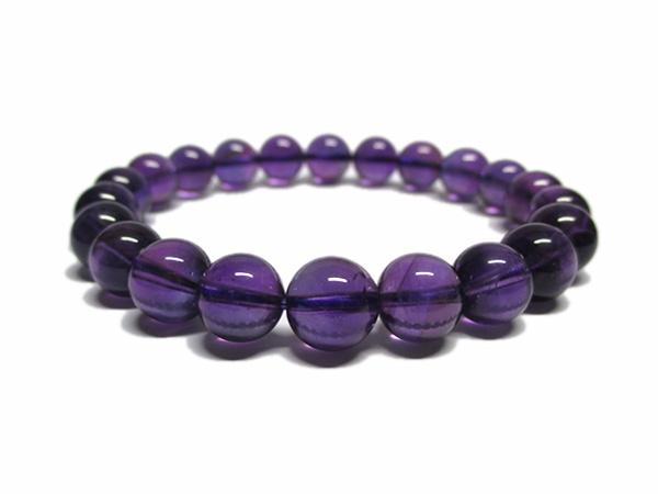 高品質 アメジスト ブレスレット 約8~9mm 紫水晶 天然石専門店/鬮石