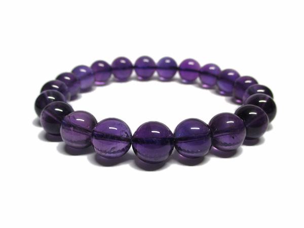 高品質 アメジスト ブレスレット 約9mm 紫水晶 天然石専門店/鬮石