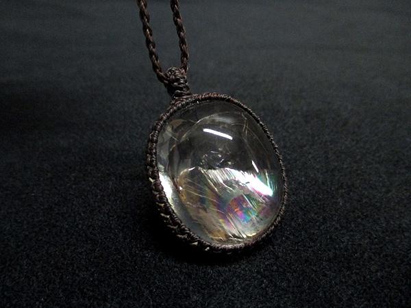 天然水晶 レインボークォーツ マクラメネックレス 天然石専門店【鬮石】