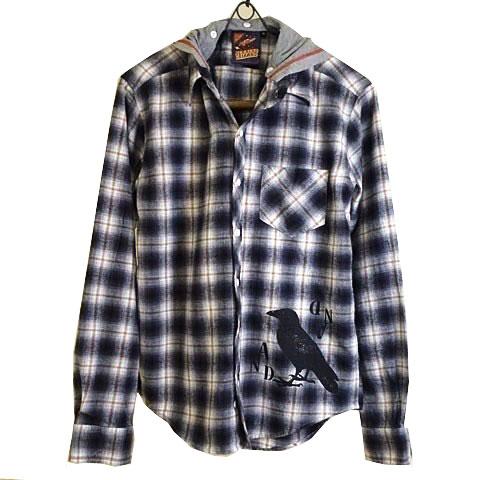BLACK CROWフェイクレイヤードネルチェックシャツ