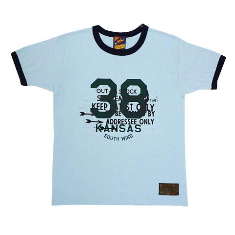 カレッジリメイク風リンガーTシャツ