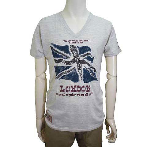 ロンドンメモリアルユニオンジャックVネックTシャツ グレー