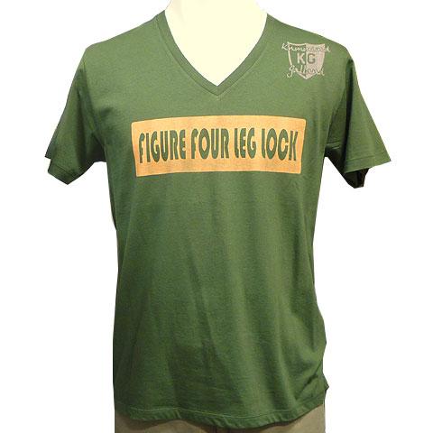 4の字固めVネックTシャツ カーキ フロント