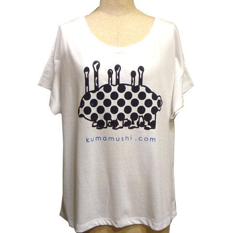 レディースクマムシドットコムドルマンスリーブTシャツ ホワイト フロント