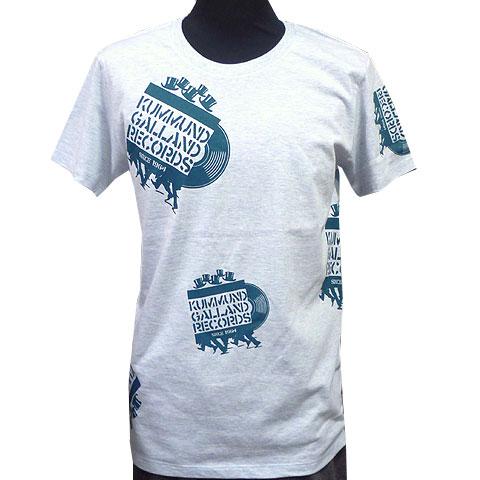 クマンドギャランドレコードTシャツ メランジブルー フロント