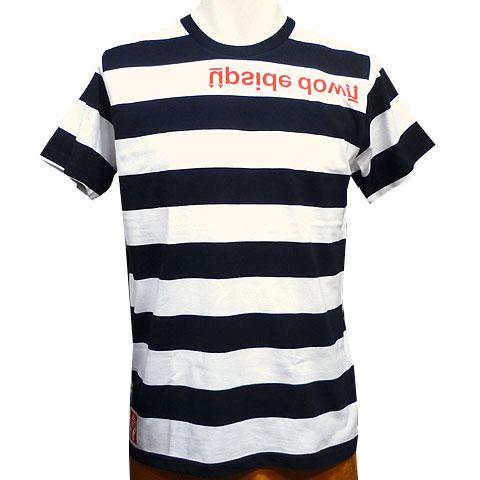 UPSIDE DOWNボールドボーダーTシャツ ホワイト フロント