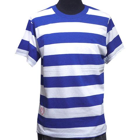 AIR INボールドボーダーTシャツ ブルー フロント