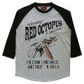 レッドオクトパスロケットキャッチ7分袖配色ラグランTシャツ