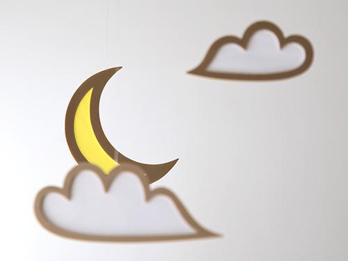 木製モビール 月と雲/おとぎ屋