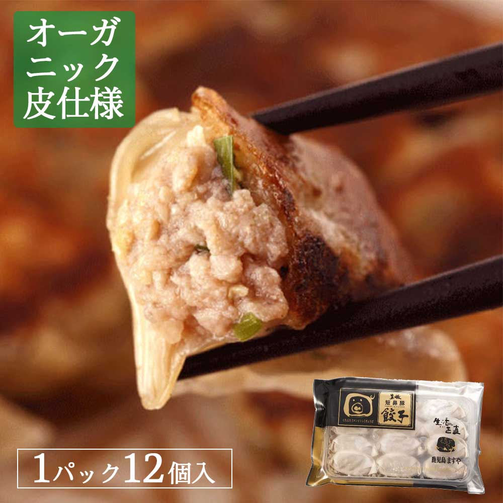【オーガニック皮】無添加 鹿児島黒豚短鼻豚 生餃子 12ヶ入