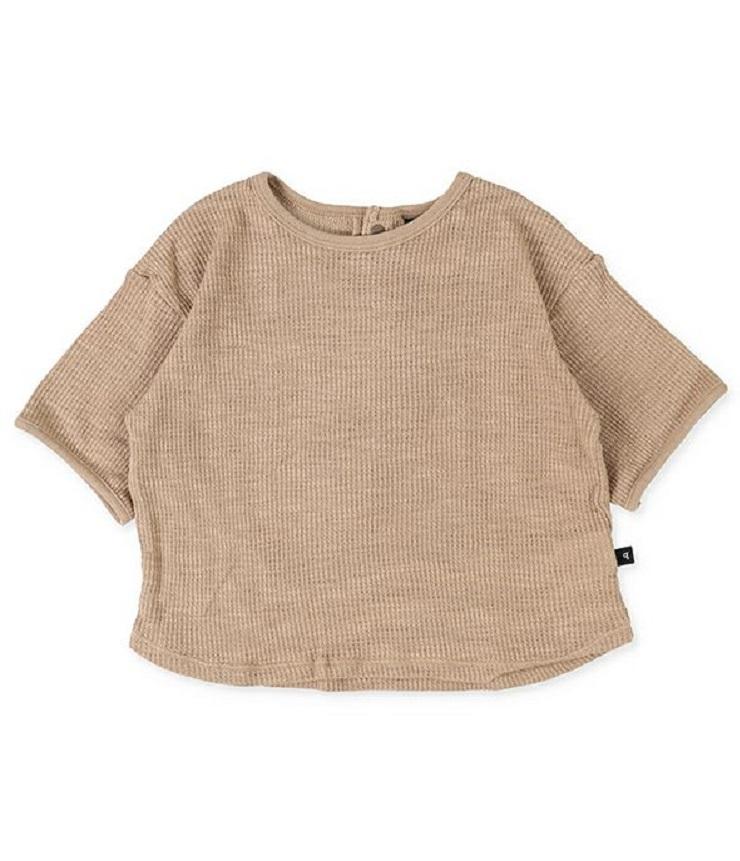 ~SALE~ quoti use fith スラブワッフル半袖Tシャツ ベージュ(80、90センチ)