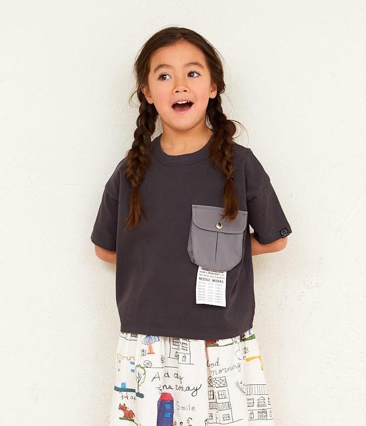 NEEDLE WORKS Pocket Big T-shirts ポケットビッグTシャツ チャコール(90~150センチ)