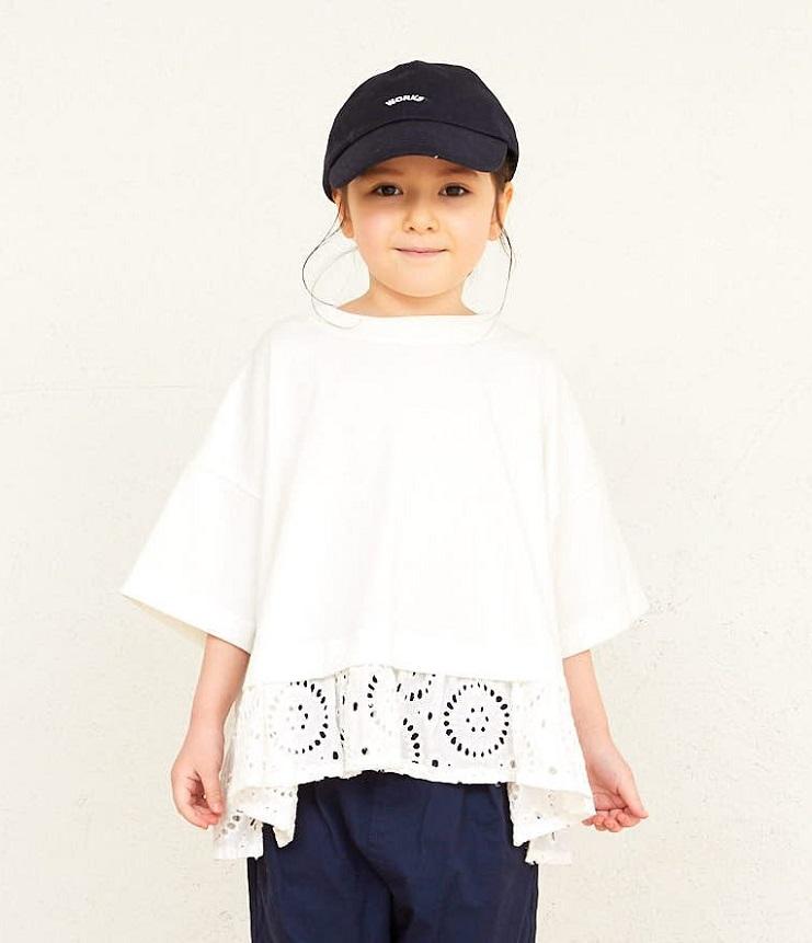 NEEDLE WORKS Lace Switching T-shirts レース切替えTシャツ ホワイト(90~150センチ)