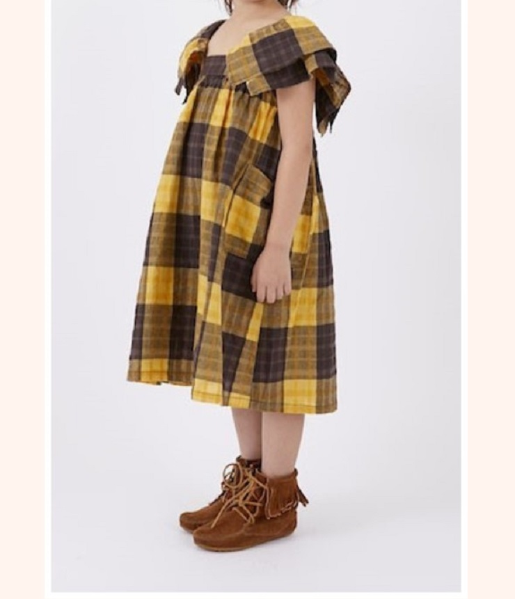 ~SALE~ NEEDLE WORKS Check One-piece  チェックワンピース イエロー(110~140センチ)