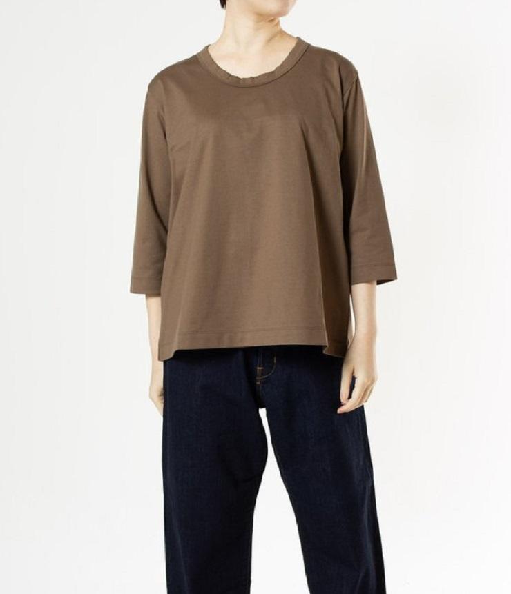 【定番】DEEP BLUE  ソフトタッチ天竺リラックス7分袖Tシャツ(カーキブラウン)