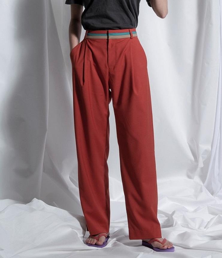thomas magpie colour belted pants カラーベルトパンツ テラコッタ