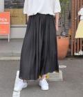 DONEEYU  ヴィンテージサテンマキシギャザースカート(ブラック)