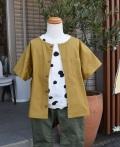 ~SALE~ FABRIQ REPORT  ショートスリーブノーカラーワイドシャツ ゴールド(110、120センチ)