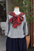 ~SALE~ NEEDLE WORKS  T/R Tartan Check Ribbon T-shirt トップグレー(90、100、120、150センチ)
