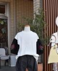 NEEDLE WORKS  刺繍パフ袖Tシャツ ホワイト(90〜150センチ)