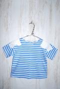 〜SALE〜 WHIP CREAM  天竺ボーダー肩リボンTシャツ サックス(90〜120センチ)